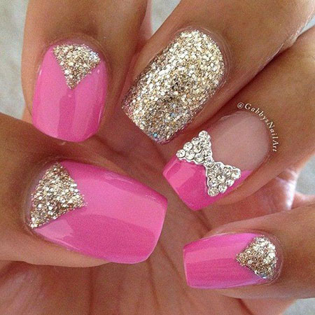 Pink and Gold Nail Art, Glitter Bow Ideas Pink