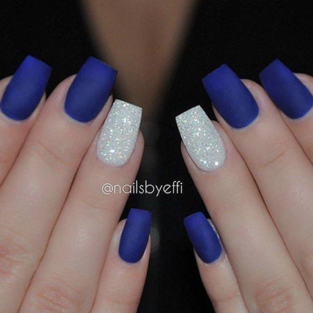 Blue Matte Nails with Glitters, Blue Diamond Matte Winter