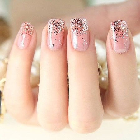 Short Round Pink Nail Design, Pink Glitter Ideas Gold