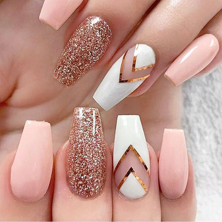 Gold Nail Art Trend 2018, Rose Gold Nial New