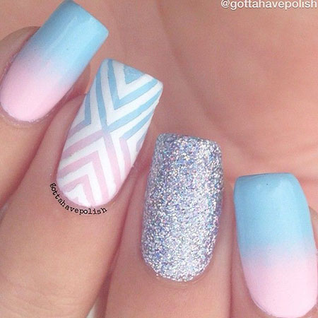 Blue Ombre Nail Design, Polish Glitter Pink Most