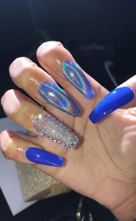 Blue Holographic Nails with Rhinestones, Blue Coffin Party Unghie