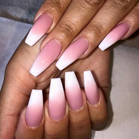 Acrylic Pretty Pink Ombre Nails, Acrylic Long Cute Pretty