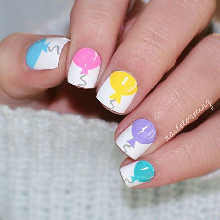 Cute Birthday Fingernails, Manicure Easy Spring Pastel