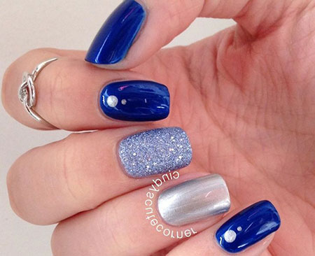 Blue Silver Easy Nail Design, Blue Silver Easy Manicure