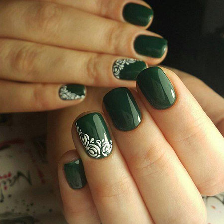 Beautiful Dark Green Nail Design, Gallery Best Design Manicure