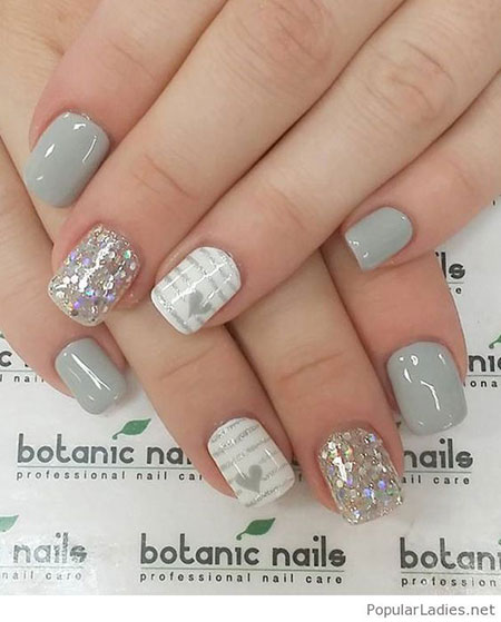 Grey Short Nail Art, White Gel Grey Hearts