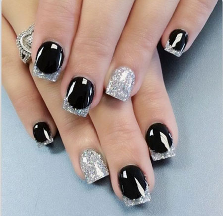 Black and Glitter White Nails, Silver Black Best Party