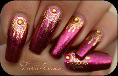 Indian Bridal Nail Design, Indian Inspired Design Bridal