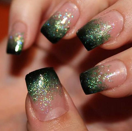 Green Ombre Nails, Green Glitter Polish Ideas