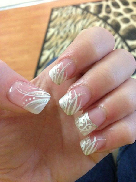 Wedding French Manicure Toes