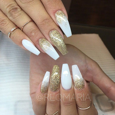 White Coffin Glitter Long