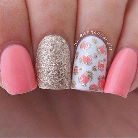 Pink Cute Summer Nail Design, Best Glitter Fun Fall