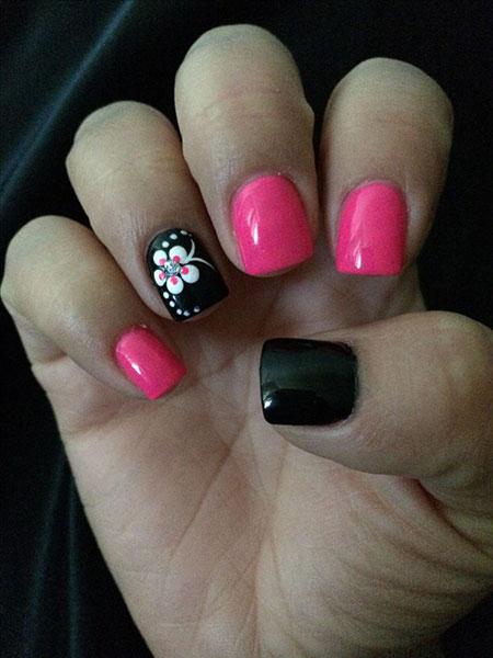 Pink Black Flower Skin