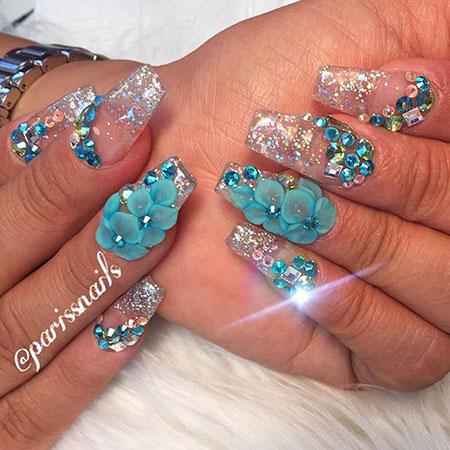 3D Flower Nail Design, 3D Glitter Flower Crystal