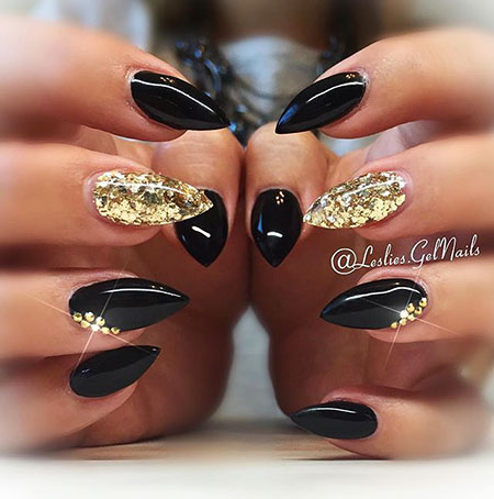 Black and Gold Nail Design, Black Stiletto Gold Coffin