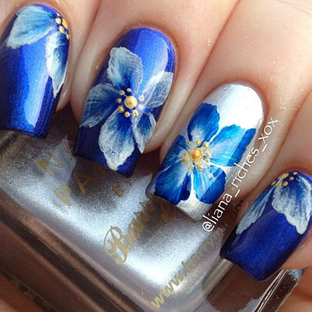 Flower Nail Art Design, Flower Photo Stroke Floweral