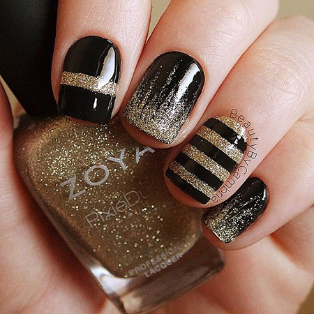 Black Gold Acrylic Polish