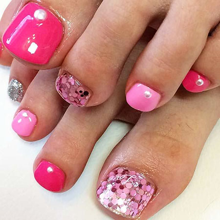 Toe Pedicure Pink Spring
