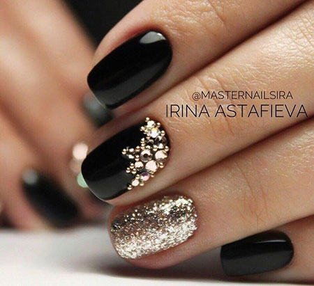 Gold Black Manicure Smink