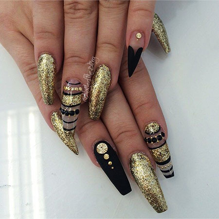 Gold Black Stiletto Coffin