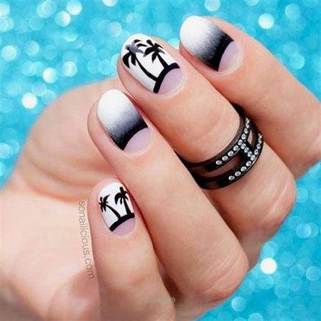 White Ombre Acrylic Black