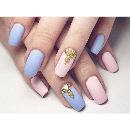 Blue Pink Manicure Round