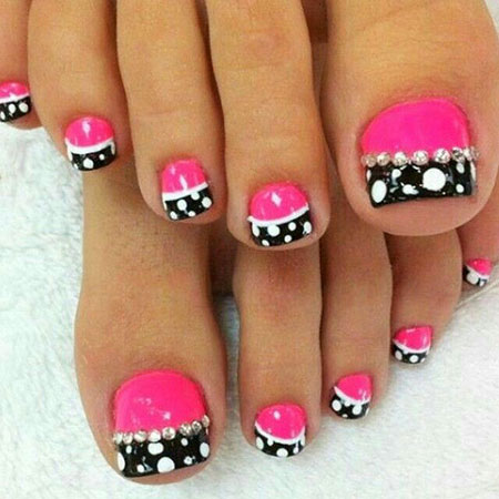 Cute Toe Nails, Toe Pink White Black
