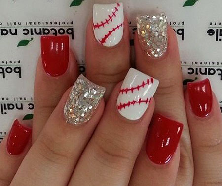 Cute Baseball Themed Nails, Baseball Red Silver Acrylic