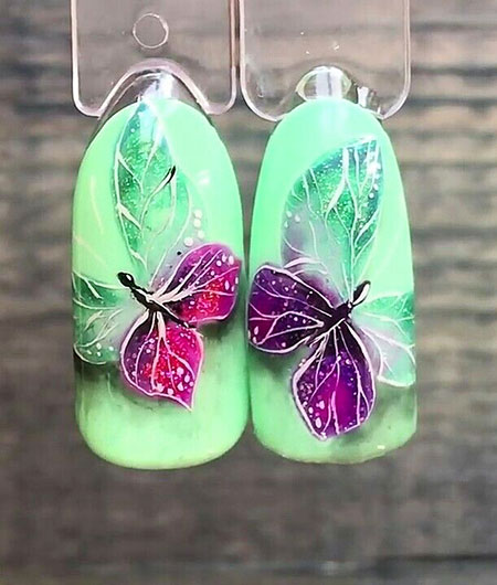 Professional Butterfly Nail Design, Butterfly Manicure Spring Flowers