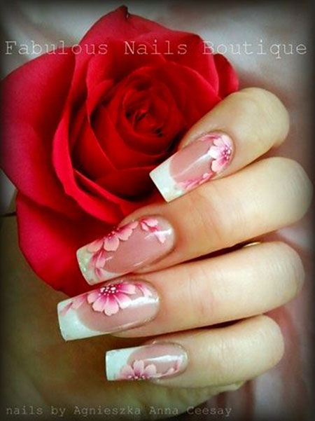 Pink Floral Nails, Pink Flowers Manicure Flower