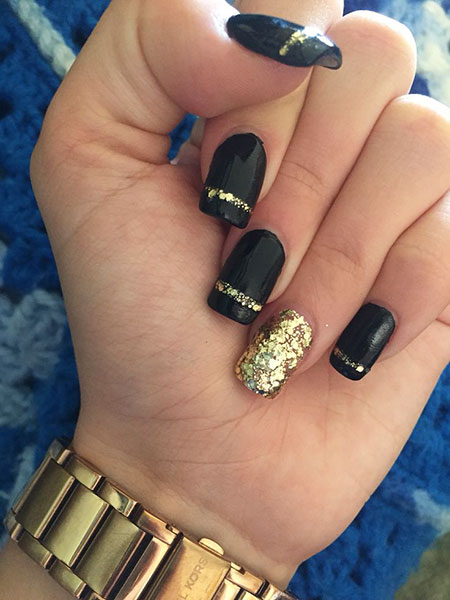 Gold Black Nails, Gold Black Acrylic Glitter