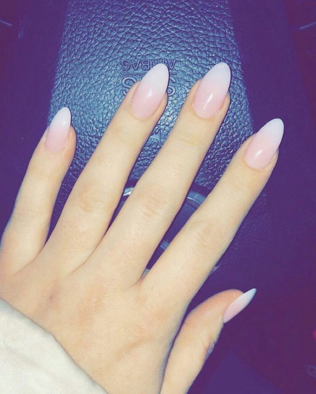 Oval Nails, Natural Acrylic Shapes Pink