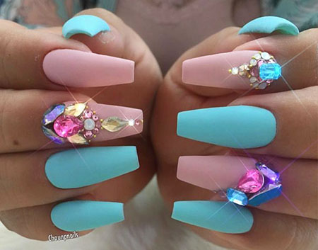 Stiletto and Square Nail Art, Acrylic Coffin Stiletto Sky
