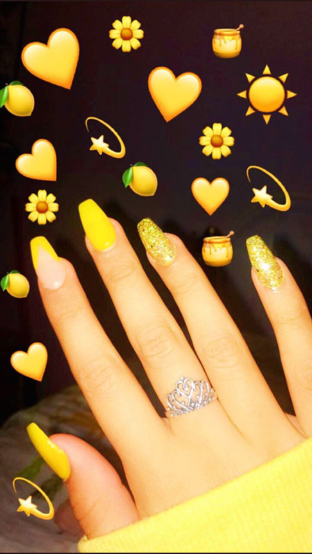 Glittered Yellow Nails, Yellow Summer Acrylic Best
