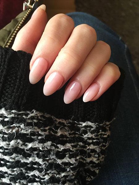 Acrylic Almond Manicure Pink