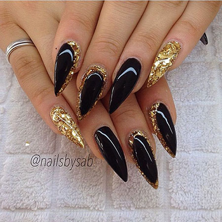 Stiletto Gold Black Gel