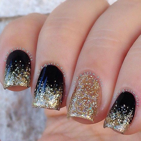 Glitter Gold Polish Black