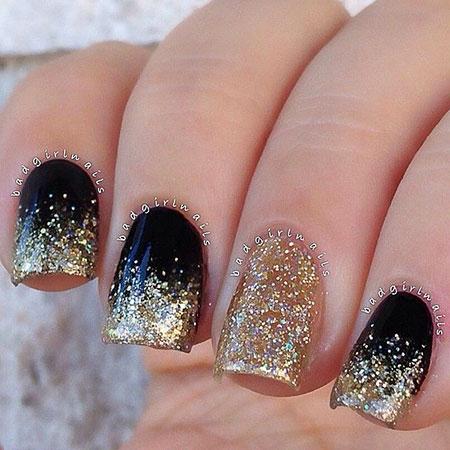 Glitter Gold Polish Black