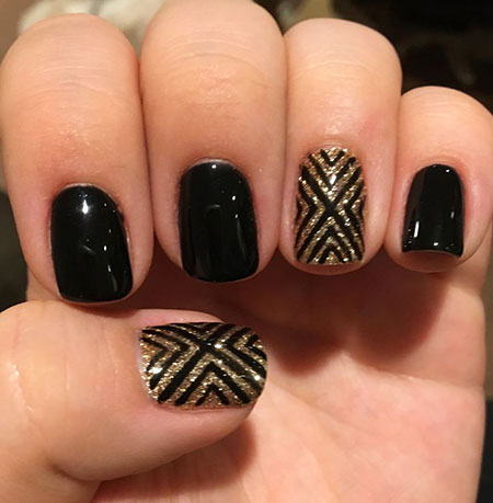 Black Gold Glitter Accent