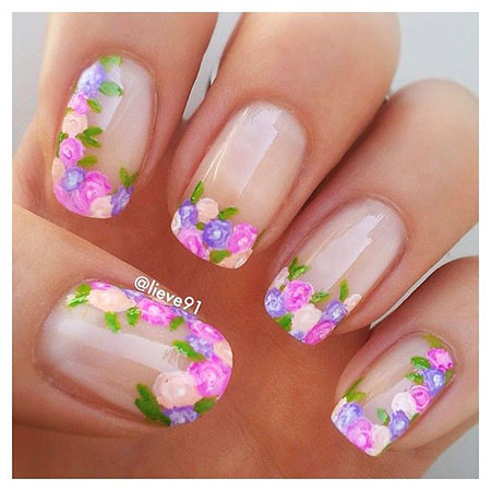 French Manicure Floral Glitter