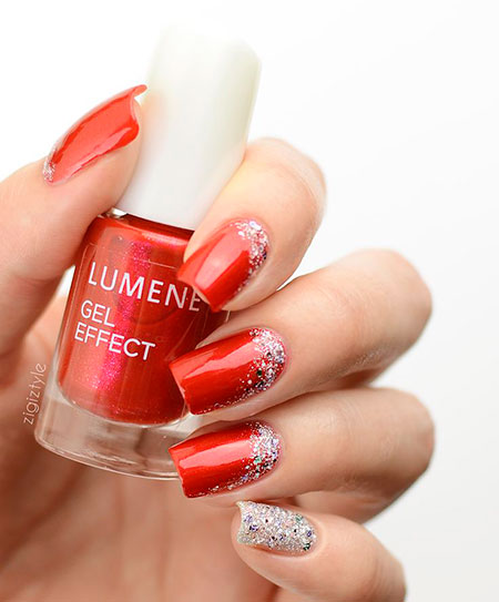 Polish Red Silver Christmas