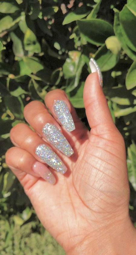 Acrylics Manicure Coffin Glitter