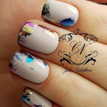 Fall Nail Art Idea for Short Nails, Fall Ideas Manicure Foil