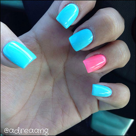 Summer Nail Trend, Pink Blue Acrylic Hot