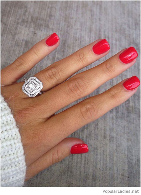 Red Simple Nail Art, Red Gel Rings Ring