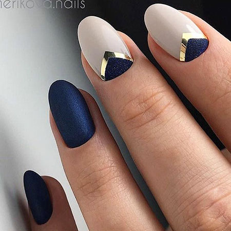 Navy Blue and Nude Colored, Manicure But Top Shape