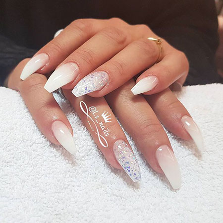 Ombre White Long Nails, Ombre Coffin Wedding Manicure