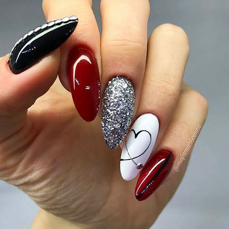 Red and Silver Nail Art, Manicure Paznokcie Red Silver