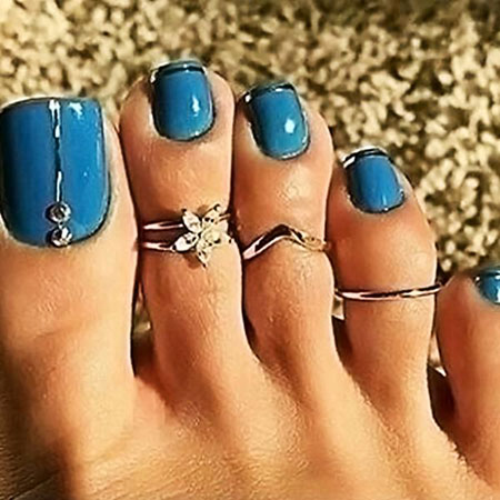 Amazing Nail Color, Toe Ring Teal Pedikúra
